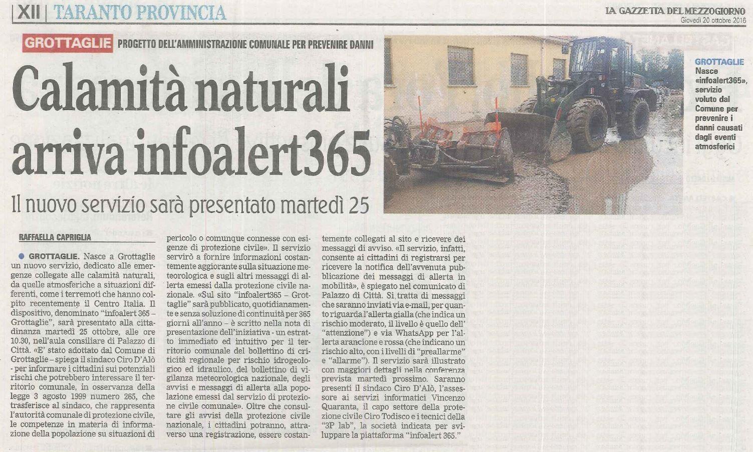 Gazzetta del Mezzogiorno (edizione di Taranto) del 20 Ottobre 2016