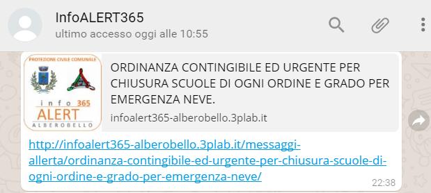 Messaggio WhatsApp con Ordinanza contingibile ed urgente per chiusura scuole di ogni ordine e grado nel Comune di Alberobello per emergenza neve