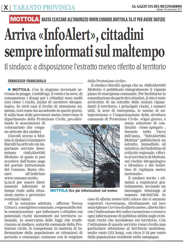 Gazzetta del Mezzogiorno (Edizione di Taranto) del 18 Novembre 2017