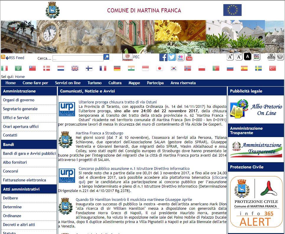infoALERT365 integrato nei servizi del portale istituzionale del Comune di Martina Franca www.comunemartinafranca.gov.it