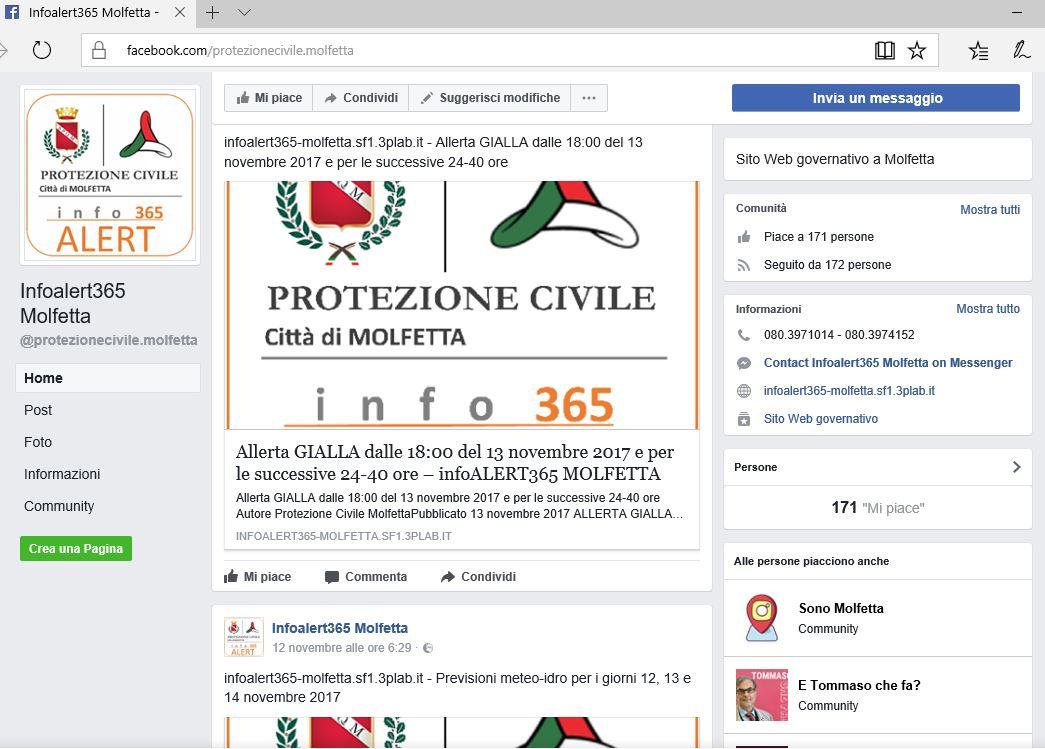 La pagina facebook del Comune di Molfetta attraverso la quale vengono veicolati i contenuti del servizio infoALERT365