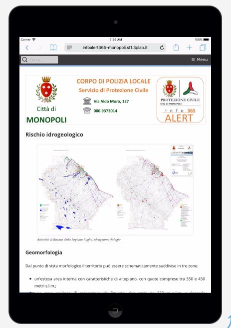 InfoALERT365 web app. Il Piano di Emergenza Comunale