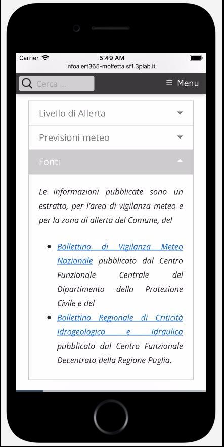 InfoALERT365 web app. Fonti informative