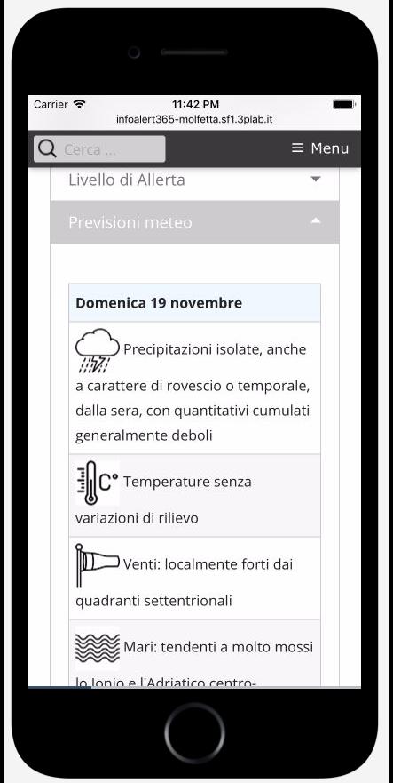 InfoALERT365 web app. Previsioni meteo elaborate dal servizio di protezione civile