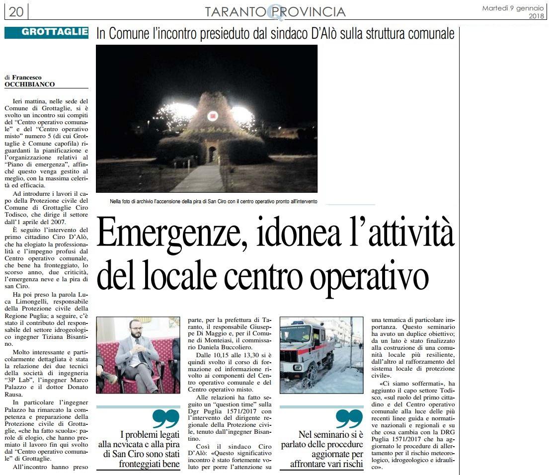 Quotidiano di Puglia del 9 gennaio 2018, Edizione di Taranto