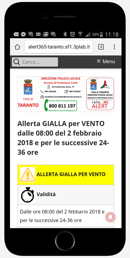 Web App infoAlert365-Taranto