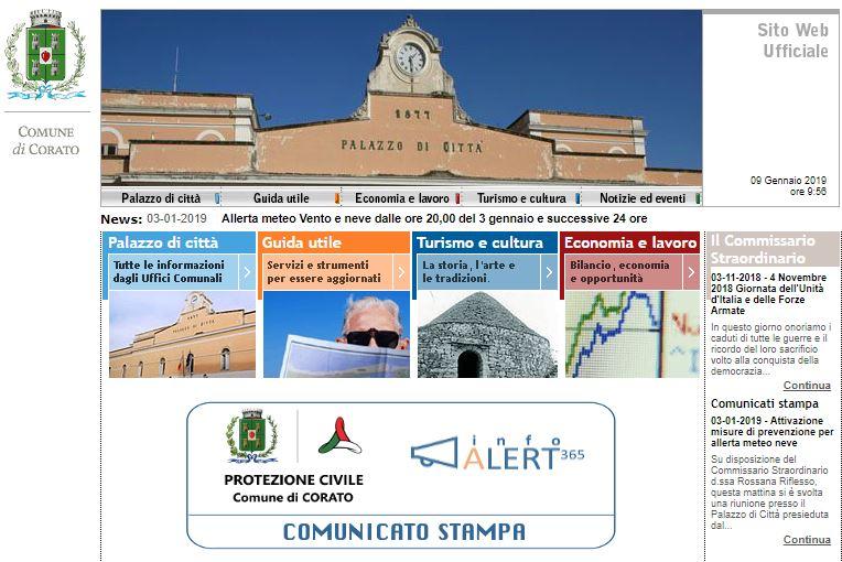 Città di Corato. Home page portale istituzionale