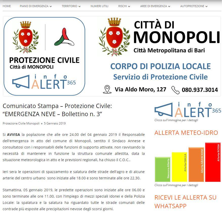 Città di Monopoli. Report in tempo reale sull'emergenza neve in corso