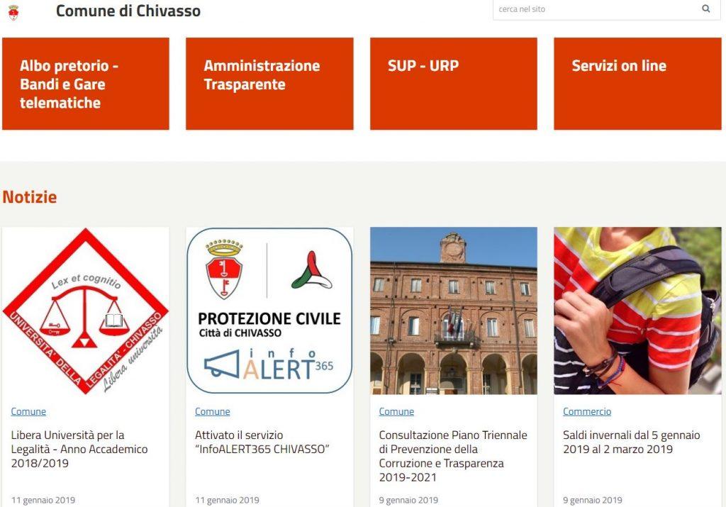 InfoALERT365 - Home page portale istituzionale della Città di Chivasso