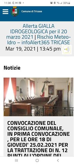 Allerta meteo sulla home page Comune di Tricase (smartphone)