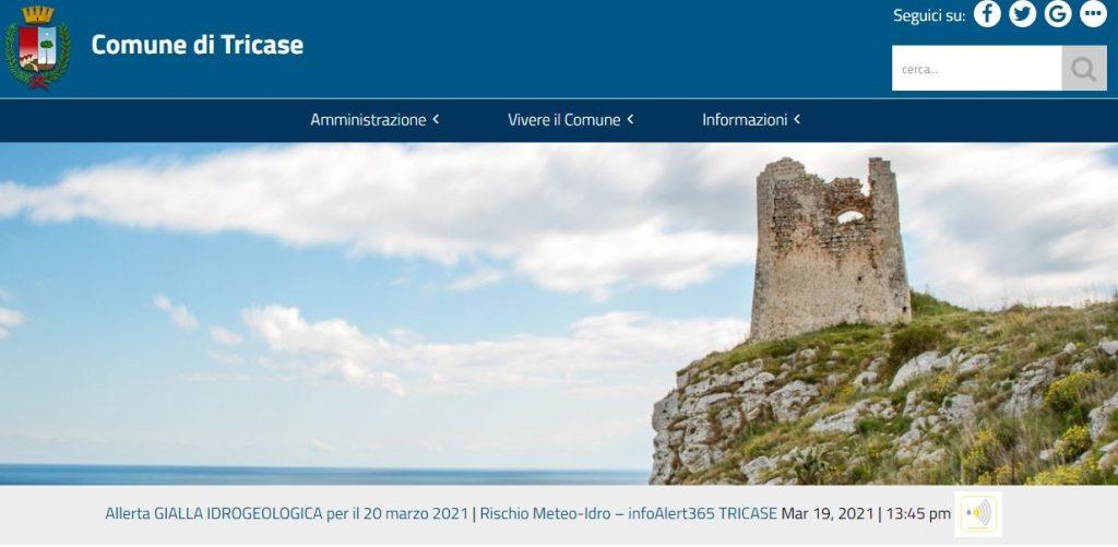 Allerta meteo sul portale istituzionale del Comune di Tricase