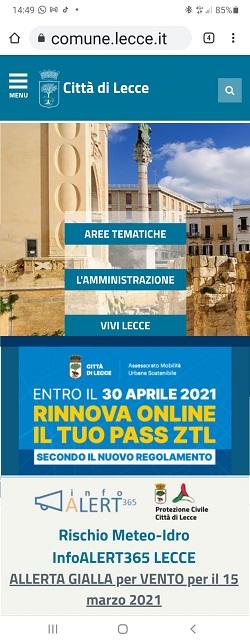 Allerta meteo sulla home page Comune di Lecce (smartphone)