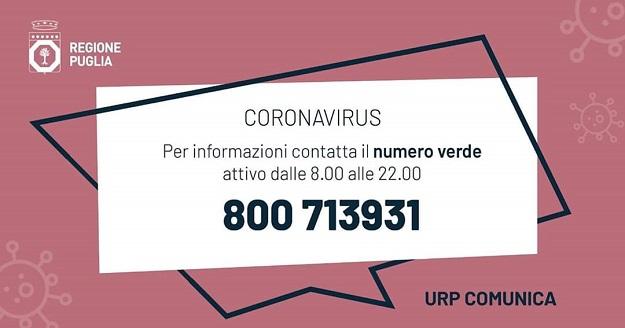 banner numero verde coronavirus Puglia